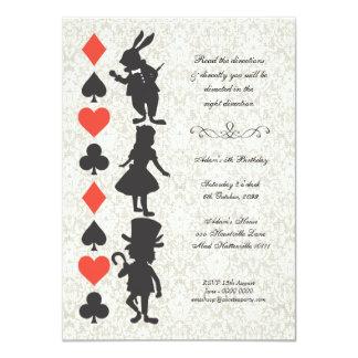 "Alice in Wonderland Cards Tea Party Birthday 4.5"" X 6.25"" Invitation Card"