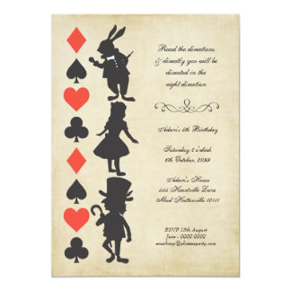 "Alice in Wonderland Cards Tea Party Birthday 5"" X 7"" Invitation Card"