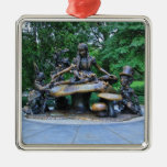 Alice in Wonderland - Central Park NYC Square Metal Christmas Ornament