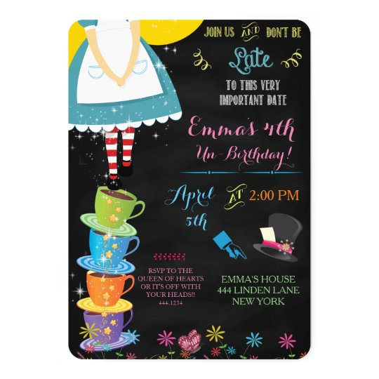 alice in wonderland chalkboard birthday invitation | zazzle, Birthday invitations