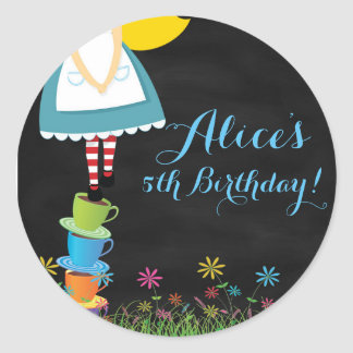 Alice in Wonderland Chalkboard Birthday Stickers
