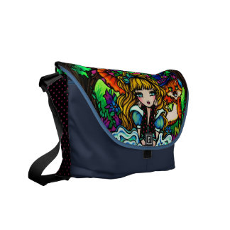 Alice in Wonderland Cheshire Cat Fantasy Art Courier Bags