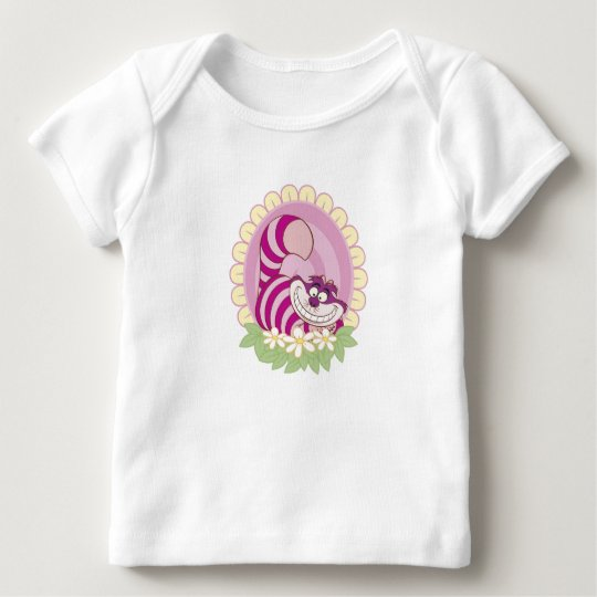 Alice in Wonderland Cheshire Cat grinning flowers Baby T-Shirt