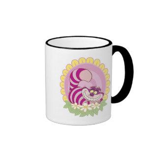 Alice in Wonderland Cheshire Cat grinning flowers Ringer Coffee Mug