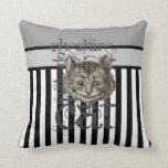 Alice In Wonderland Cheshire Cat Grunge Throw Pillow