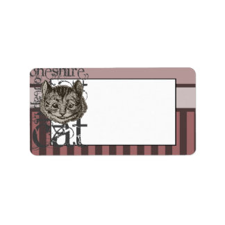 Alice In Wonderland Cheshire Cat Grunge (Pink) Label