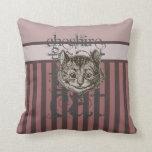 Alice In Wonderland Cheshire Cat Grunge (Pink) Throw Pillows