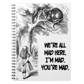 Alice in Wonderland Cheshire Cat Items Notebook