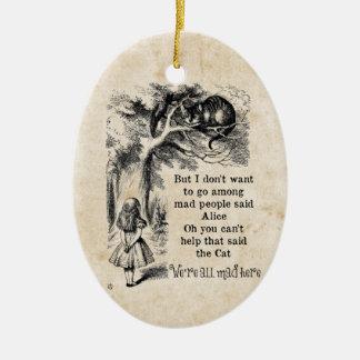 Alice in Wonderland; Cheshire Cat with Alice Ceramic Ornament