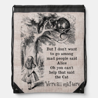 Alice in Wonderland; Cheshire Cat with Alice Drawstring Backpack