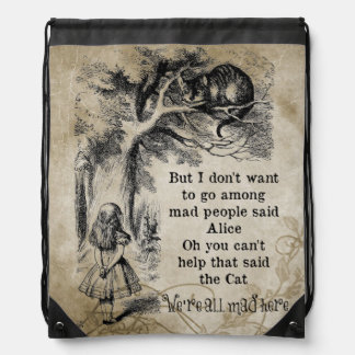 Alice in Wonderland; Cheshire Cat with Alice Drawstring Bag