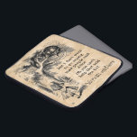 """Alice in Wonderland; Cheshire Cat with Alice Laptop Sleeve<br><div class=""""desc"""">Vintage illustration fairy tales and nursery rhymes image of Alice with the Cheshire Cat by John Tenniel in Lewis Carroll&#39;s Alice&#39;s Adventures in Wonderland,  1865,  a text-designed dialogue included against old parchment paper background (graphic). &quot;We are all mad here&quot;:)</div>"""