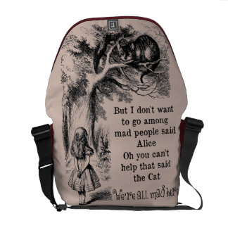 Alice in Wonderland; Cheshire Cat with Alice Messenger Bag