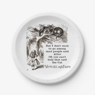 Alice in Wonderland; Cheshire Cat with Alice Paper Plate
