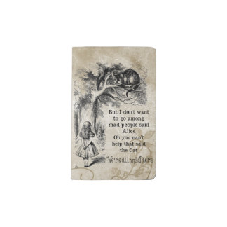 Alice in Wonderland; Cheshire Cat with Alice Pocket Moleskine Notebook