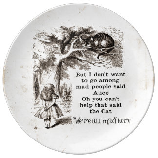 Alice in Wonderland; Cheshire Cat with Alice Porcelain Plate