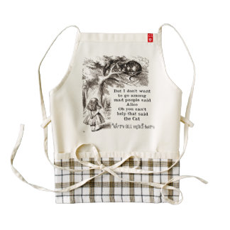 Alice in Wonderland; Cheshire Cat with Alice Zazzle HEART Apron