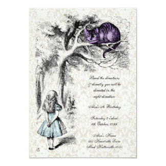 Alice in Wonderland Cheshire Tea Party Birthday 5x7 Paper Invitation Card