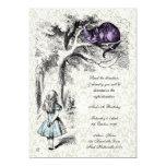 Alice in Wonderland Cheshire Tea Party Birthday 5x7 Paper Invitation Card