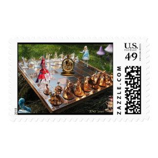 Alice in Wonderland Chess Board Stamp