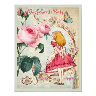 Alice in Wonderland Collage Bachelorette Party Card