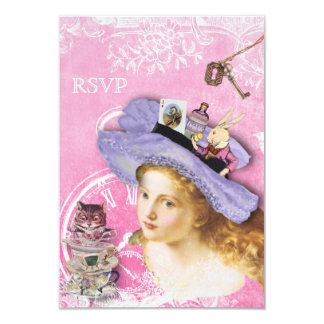 Alice in Wonderland Collage RSVP Card