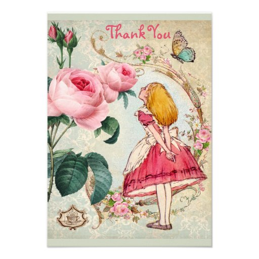 Alice in Wonderland Collage Thank You Baby Shower Announcements