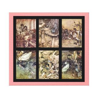 Alice In Wonderland Compilation 6 Images On Cloth Canvas Print