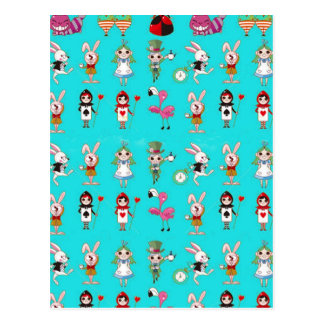 Alice In Wonderland Cute Turquoise Blue Montage Postcards