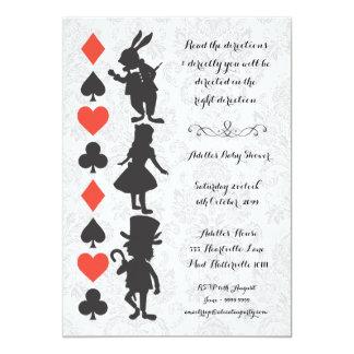 "Alice in Wonderland Damask Baby Shower Invite 5"" X 7"" Invitation Card"
