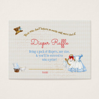 Alice in Wonderland Diaper Raffle Thank You Gift Business Card