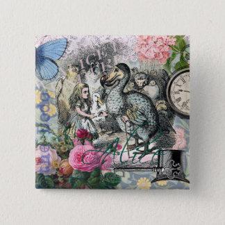 Alice in Wonderland Dodo  Vintage Pretty Collage Button
