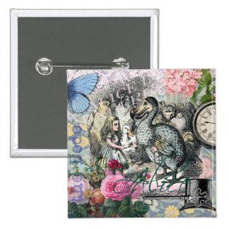 Alice in Wonderland Dodo  Vintage Pretty Collage Pinback Buttons