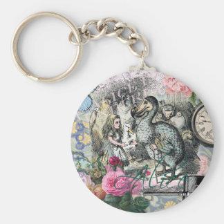 Alice in Wonderland Dodo  Vintage Pretty Collage Keychain