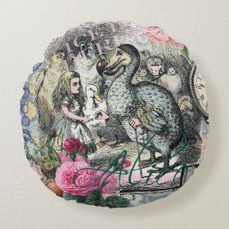 Alice in Wonderland Dodo  Vintage Pretty Collage Round Pillow