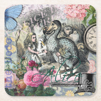 Alice in Wonderland Dodo  Vintage Pretty Collage Square Paper Coaster