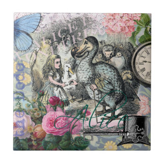 Alice in Wonderland Dodo  Vintage Pretty Collage Tile