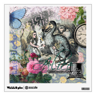 Alice in Wonderland Dodo  Vintage Pretty Collage Wall Decal