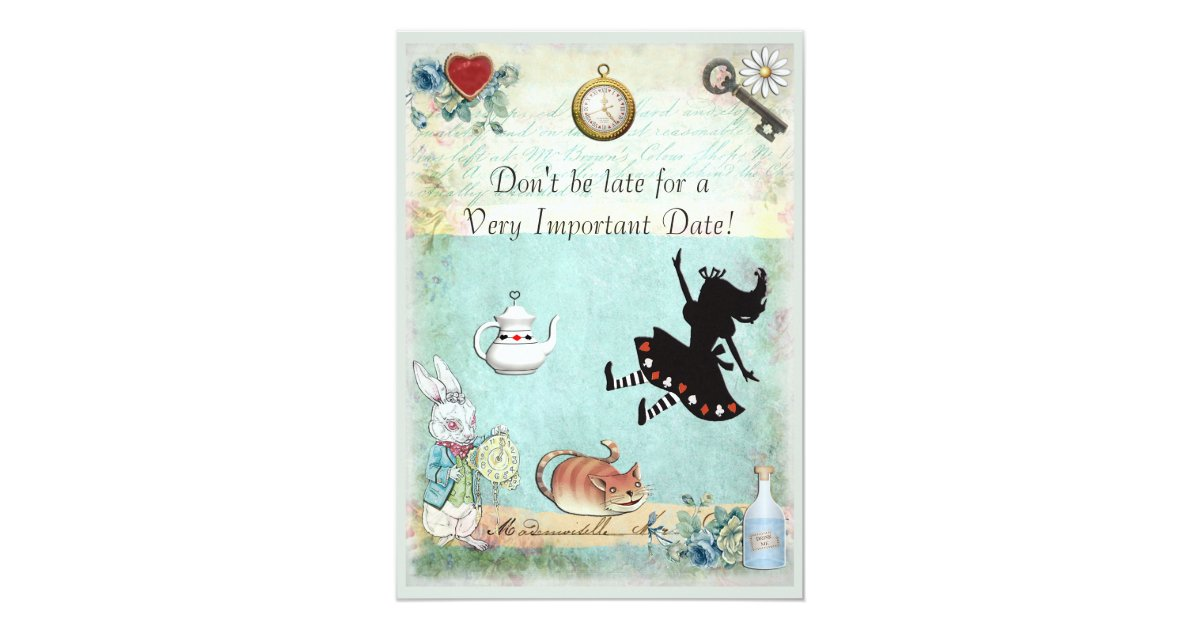 alice in wonderland don 39 t be late baby shower card zazzle