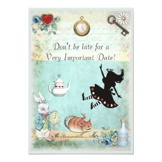 "Alice in Wonderland Don't Be Late Baby Shower 5"" X 7"" Invitation Card"