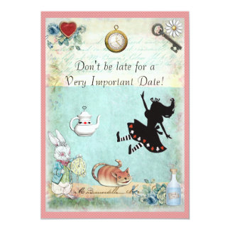 Alice in Wonderland Don't Be Late Birthday 5x7 Paper Invitation Card