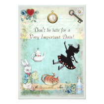 Alice in Wonderland Don't Be Late Bridal Shower Invitation