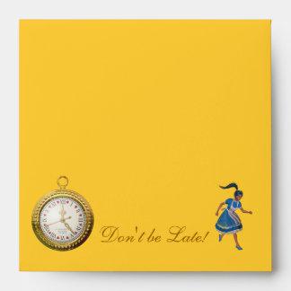 Alice in Wonderland Don't be Late Envelopes