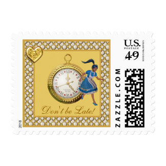 Alice in Wonderland Don't be Late Postage Stamps