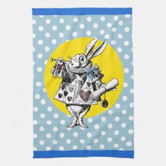 Alice in Wonderland Dotty White Rabbit Tea Towel