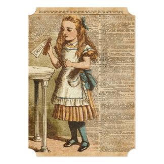 Alice In Wonderland Drink Me Vintage Book Page Art Card
