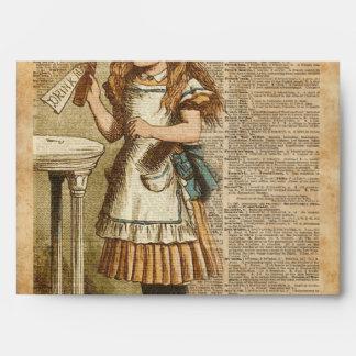 Alice In Wonderland Drink Me Vintage Book Page Art Envelope