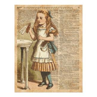 Alice In Wonderland Drink Me Vintage Book Page Art Flyer