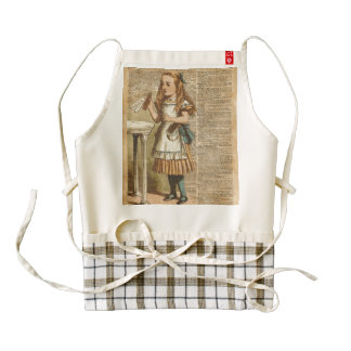 Alice In Wonderland Drink Me Vintage Book Page Art Zazzle HEART Apron
