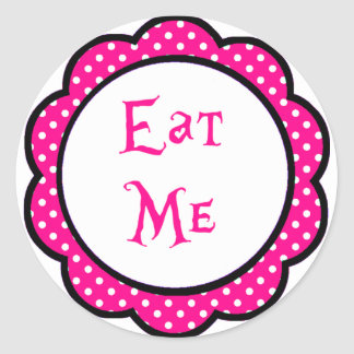 Alice In Wonderland Eat Me Party Favors Classic Round Sticker